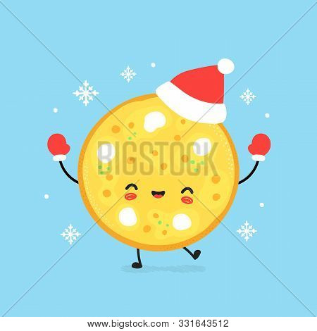 Cute Smiling Happy Pizza In Christmas Hat And Gloves. Vector Flat Cartoon Character Illustration. Ch