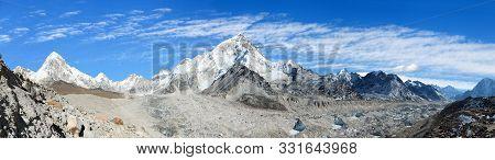 Panoramic View Of Himalayan Mountain Range Near Mount Everest With Khumbu Glacier Pumo Ri And Nuptse