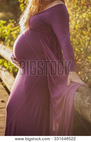 Portrait Of Beautiful Pregnant Woman In A Purple Dress, Standing Outside In Beautiful Autumn Sunligh
