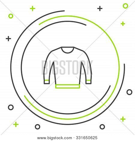 Black And Green Line Sweater Icon Isolated On White Background. Pullover Icon. Colorful Outline Conc