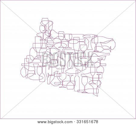 States Winemakers - Stylized Maps From Silhouettes Of Wine Bottles, Glasses And Decanters. Map Of Or