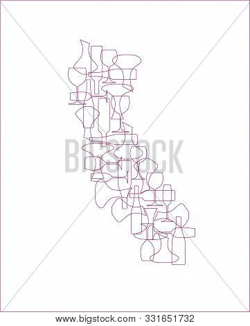 States Winemakers - Stylized Maps From Silhouettes Of Wine Bottles, Glasses And Decanters. Map Of Ca