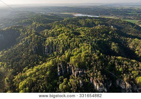 Prihrazske Skaly In The Bohemian Paradise On Aerial Photo