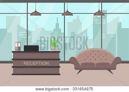 Reception Interior With Big Window, City Veiw, Furniture And Plant. Interior Vector Illustration.