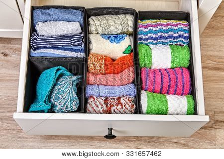 The Drawer Is Divided Into Cells Of Different Sizes, For Separate Storage Of Linen And Fabrics. Home