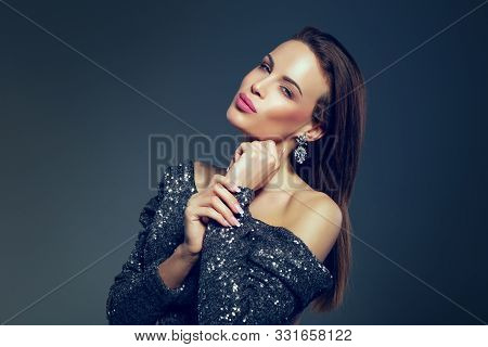 Young Caucasian Celebrity Woman In Glitter Dress Posing Portrait And Smile