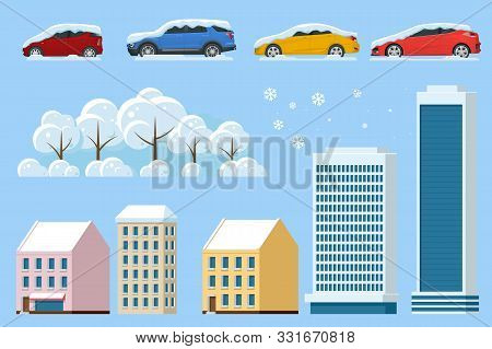 Flat Isolated Winter Icons Snowy Car, Snowdrift, House, Office, Snowy Tree. Cars Covered In Snow On