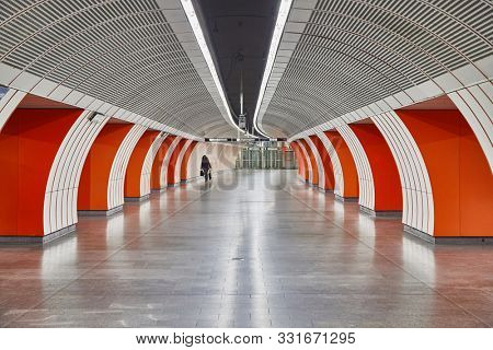 VIENNA, AUSTRIA - FEBRUARY 2, 2017: Metro station underground with corridor tunel, almost empty