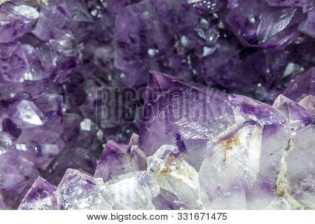 Close-up Of Raw Amethyst Druse .gemstone - Detail.