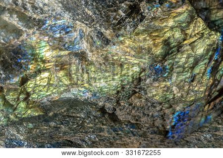 Macro Shooting Of Gem Raw Natural Labradorite Mineral Texture As Very Nice Natural Background