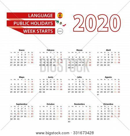 Calendar 2020 In Spanish Language With Public Holidays The Country Of Mexico In Year 2020. Week Star