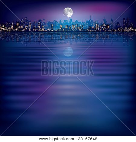 Abstract Night Background With Silhouette Of City