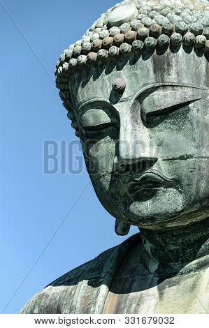 Great Buddha Of Kamakura Statue, Head Close-up