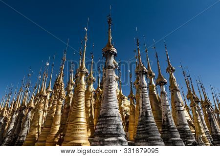 Renovated Ancient Stupas At Shwe Indein Pagoda, Inle Lake, Myanmar