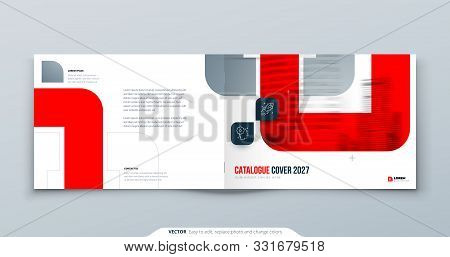 Horizontal Red Brochure Design. A4 Cover Template For Brochure, Report, Catalog, Magazine. Landscape