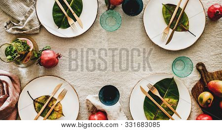 Autumn Table Styling Or Setting For Holiday Celebration, Wide Composition