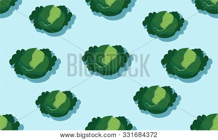 Seamless Blue Background With Kale Heads With Shadow. Vector Vegetables Illustration Design For Temp