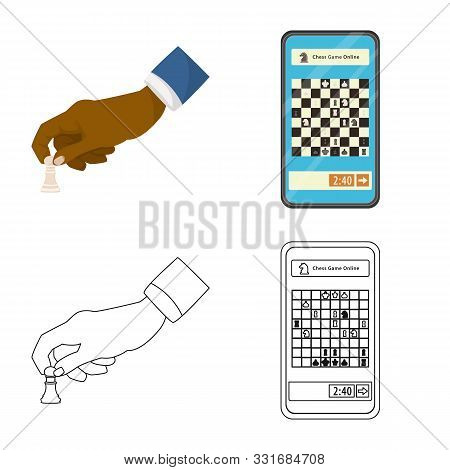 Isolated Object Of Checkmate And Thin Symbol. Collection Of Checkmate And Target Stock Vector Illust