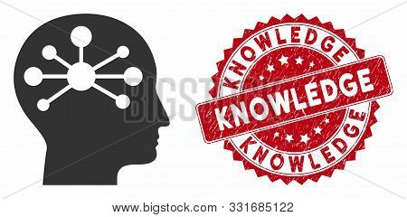Vector Human Intellect Icon And Corroded Round Stamp Seal With Knowledge Text. Flat Human Intellect
