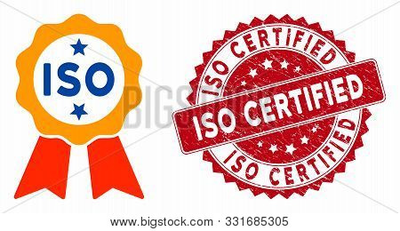 Vector Iso Certified Icon And Rubber Round Stamp Seal With Iso Certified Caption. Flat Iso Certified