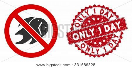 Vector No Deadline Icon And Rubber Round Stamp Seal With Only 1 Day Caption. Flat No Deadline Icon I