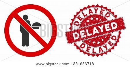 Vector No Waiter Icon And Distressed Round Stamp Seal With Delayed Text. Flat No Waiter Icon Is Isol