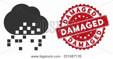 Vector Cloud Dissipation Icon And Distressed Round Stamp Seal With Damaged Caption. Flat Cloud Dissi