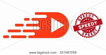 Vector Express Right Direction Icon And Corroded Round Stamp Seal With Speedy Phrase. Flat Express R