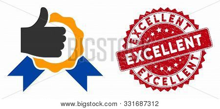 Vector Excellent Icon And Distressed Round Stamp Seal With Excellent Caption. Flat Excellent Icon Is