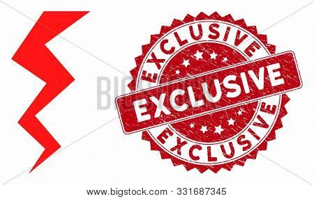 Vector Zigzag Strike Icon And Distressed Round Stamp Seal With Exclusive Phrase. Flat Zigzag Strike
