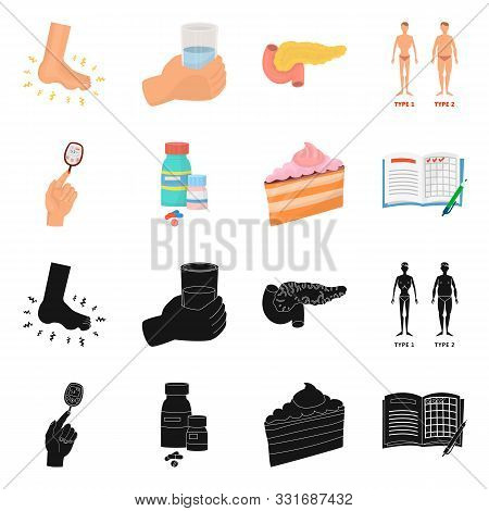 Isolated Object Of Diet And Treatment Icon. Set Of Diet And Medicine Stock Symbol For Web.