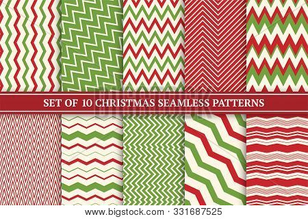 Christmas Seamless Colorful Zigzag Patterns. Bright X-mas Striped Retro Backgrounds - Vintage Style.