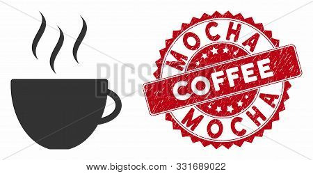Vector Coffee Cup Icon And Rubber Round Stamp Seal With Mocha Coffee Caption. Flat Coffee Cup Icon I