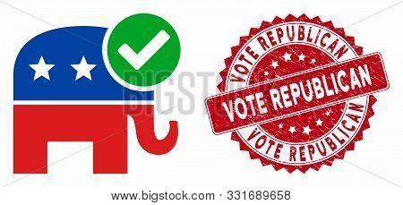 Vector Vote Republican Icon And Rubber Round Stamp Seal With Vote Republican Phrase. Flat Vote Repub