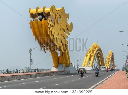 Da Nang, Vietnam - March 10, 2019: Together With Traffic, Entering From East Over Han River On Cau R