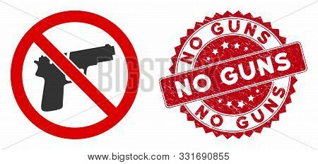 Vector No Guns Icon And Grunge Round Stamp Seal With No Guns Caption. Flat No Guns Icon Is Isolated