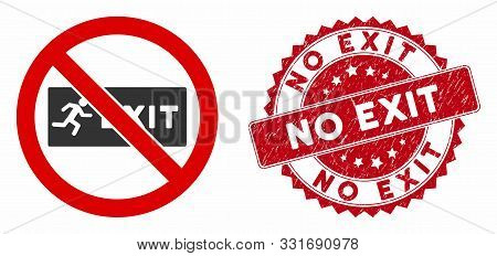 Vector No Exit Icon And Distressed Round Stamp Seal With No Exit Caption. Flat No Exit Icon Is Isola
