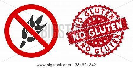 Vector No Gluten Icon And Grunge Round Stamp Seal With No Gluten Caption. Flat No Gluten Icon Is Iso