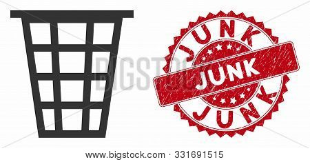 Vector Junk Icon And Rubber Round Stamp Seal With Junk Caption. Flat Junk Icon Is Isolated On A Whit