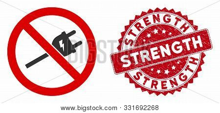 Vector No Electric Cord Icon And Rubber Round Stamp Seal With Strength Phrase. Flat No Electric Cord