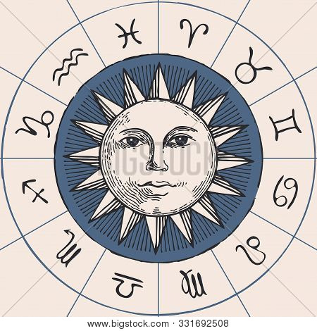 Vector Circle Of The Zodiac Signs In Retro Style With Hand-drawn Sun. Horoscope Circle With Twelve S