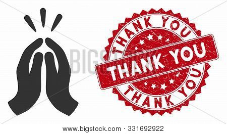 Vector Thank You Icon And Rubber Round Stamp Seal With Thank You Caption. Flat Thank You Icon Is Iso