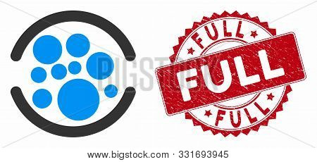 Vector Full Icon And Distressed Round Stamp Seal With Full Caption. Flat Full Icon Is Isolated On A
