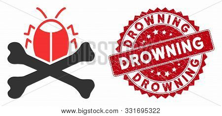 Vector Pesticide Icon And Rubber Round Stamp Seal With Drowning Caption. Flat Pesticide Icon Is Isol