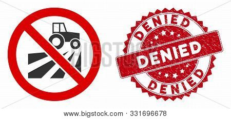 Vector No Agriculture Field Icon And Grunge Round Stamp Seal With Denied Text. Flat No Agriculture F