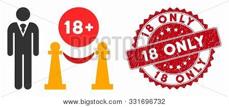 Vector For Adults Only Icon And Rubber Round Stamp Watermark With 18 Only Caption. Flat For Adults O