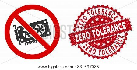 Vector No Videocard Icon And Rubber Round Stamp Seal With Zero Tolerance Phrase. Flat No Videocard I