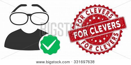 Vector For Clevers Icon And Rubber Round Stamp Seal With For Clevers Phrase. Flat For Clevers Icon I
