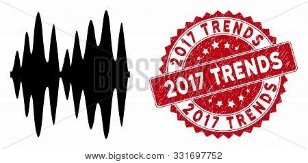 Vector Sound Signal Icon And Distressed Round Stamp Watermark With 2017 Trends Phrase. Flat Sound Si