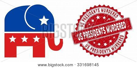 Vector Republican Elephant Icon And Rubber Round Stamp Seal With Us Presidents Murdered Caption. Fla